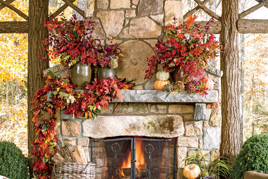 Mantel with Foliage