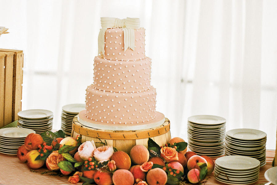 """Just Peachy"" Wedding Cake"
