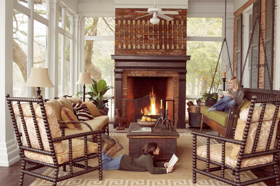 Cozy Screened Fall Porch - Cozy Screened Fall Porch - Fall's Best Outdoor Rooms - Southern Living