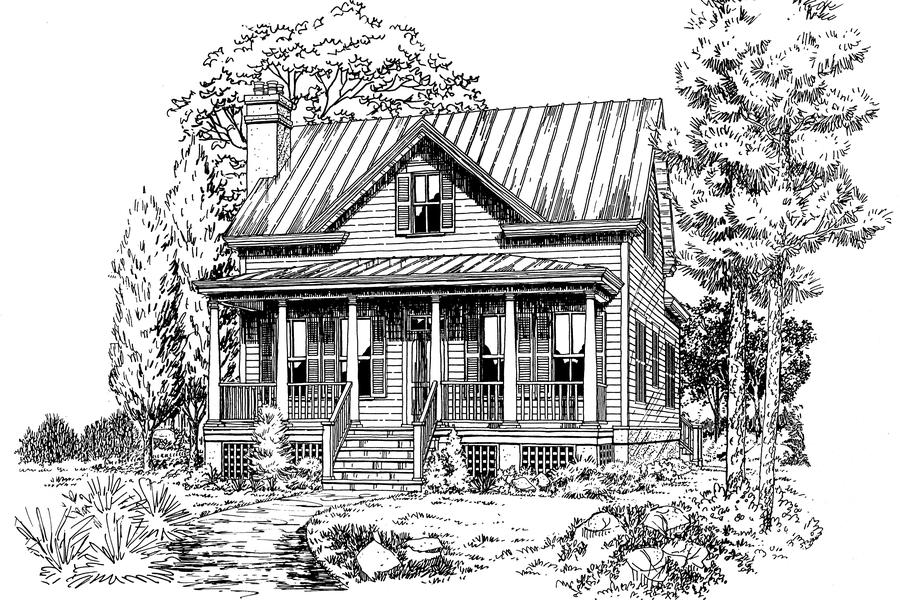Coosaw river cottageplan 671 18 small house plans for Small river house plans
