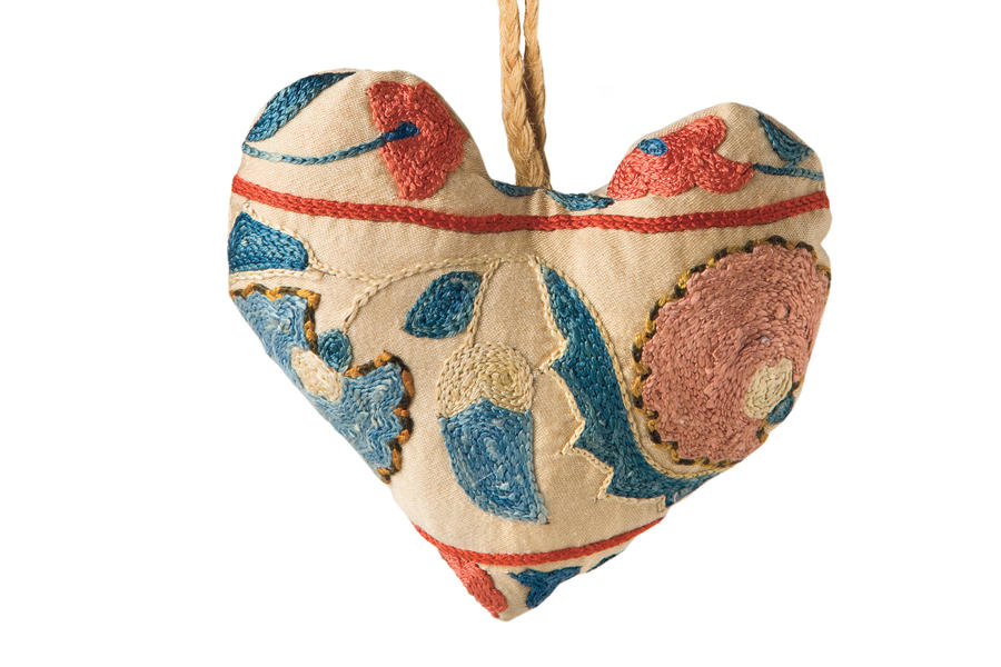Gifts for Girlfriends: Suzani Heart Ornaments