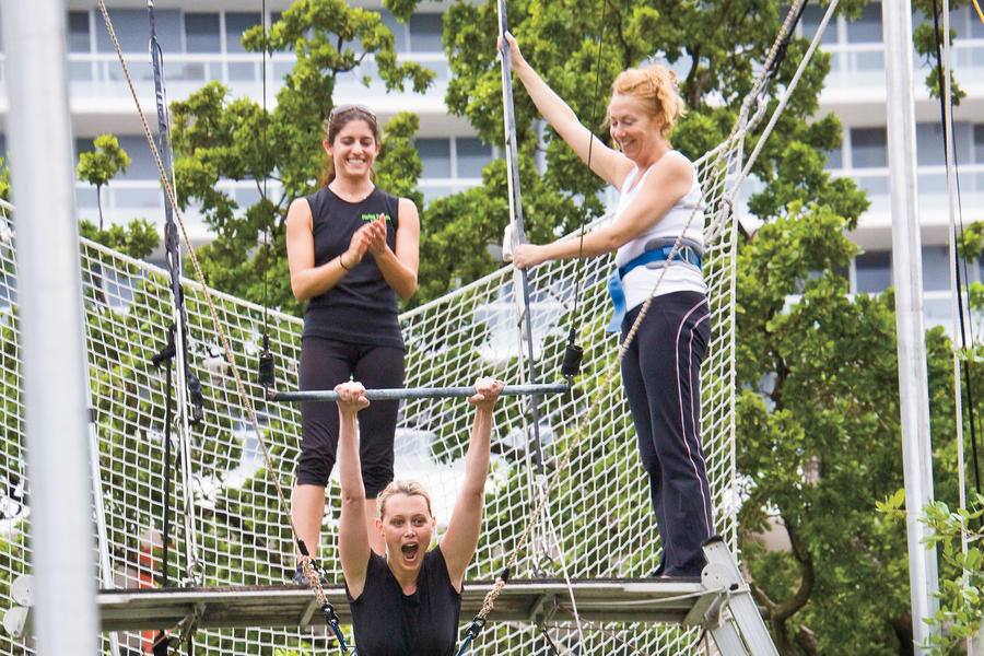 10:18 a.m. The Flying Trapeze School