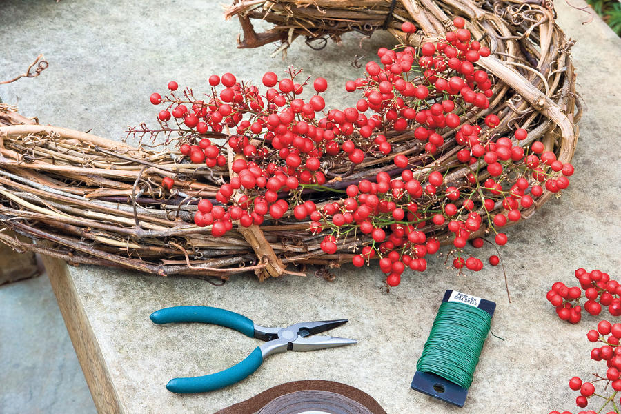 Nandina Wreath: Step 2
