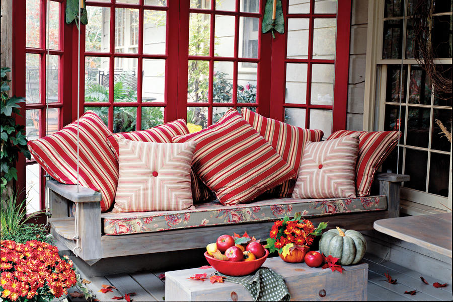 Bright Red Porch