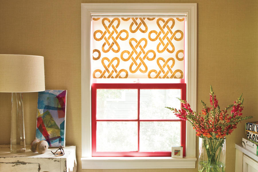 Window designs stenciled shade southern living for Window design solutions