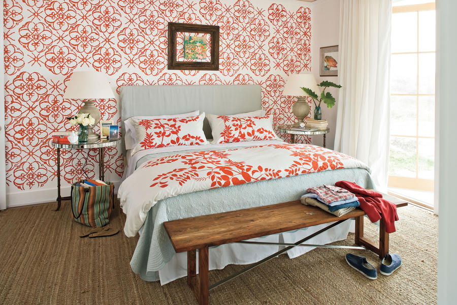 Bold pattern master bedroom decorating ideas southern for Bold bedroom ideas