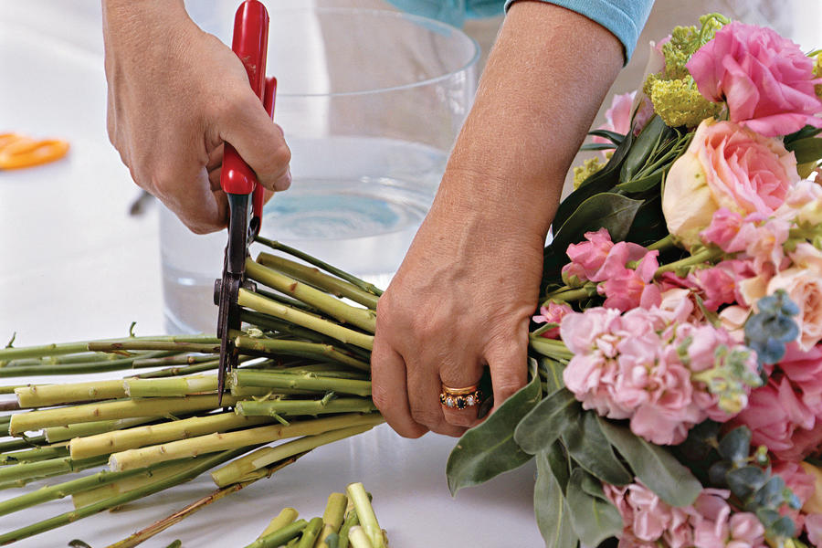 How to Make a Posy Bouquet: Cut Stems