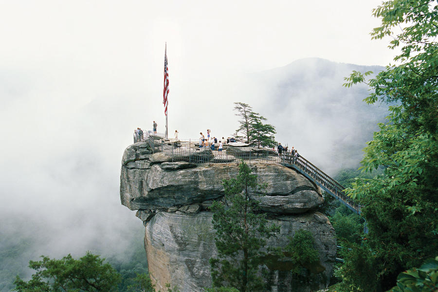 chimney rock overlooking lake lure