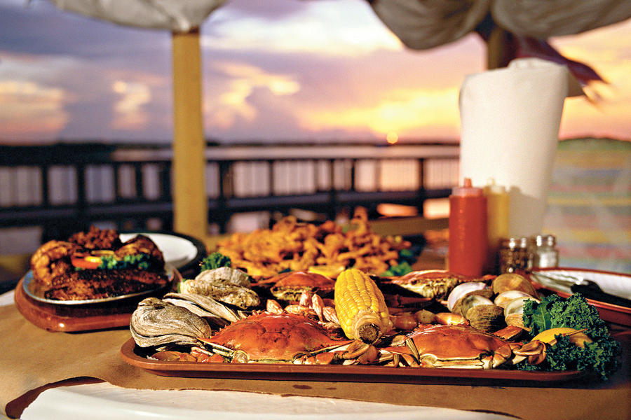 plates of seafood at j.b.'s fish camp and restaurant