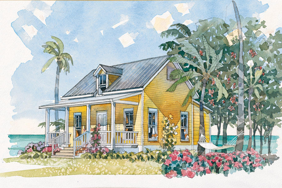 Beachside bungalow plan 1117 cabins cottages under for Cottages under 1000 square feet