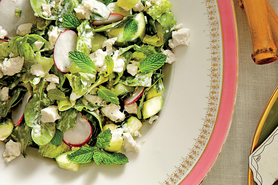 ... -and-Romaine Salad with Cucumbers, Radishes, and Creamy Mint Dressing