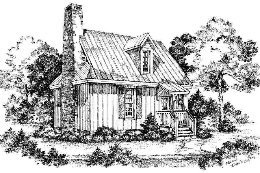 Cypress view plan 735 cabins cottages under 1 000 for Cottage house plans under 1000 sq ft
