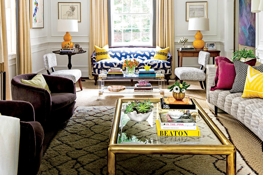 Modern southern style charlotte lucas jane hogan designs for Rich colors for living room