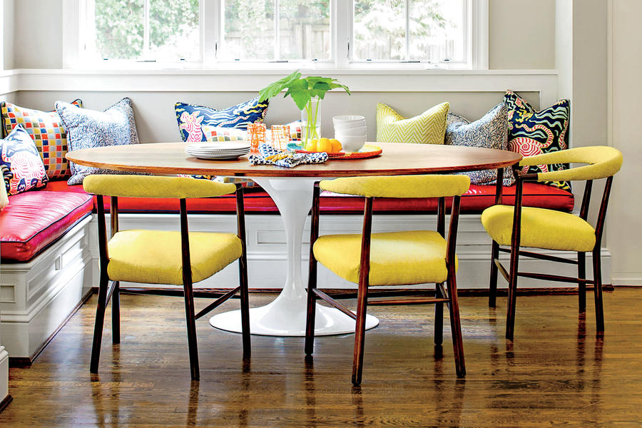 Casual Kitchen Dining Nook with Yellow Chairs