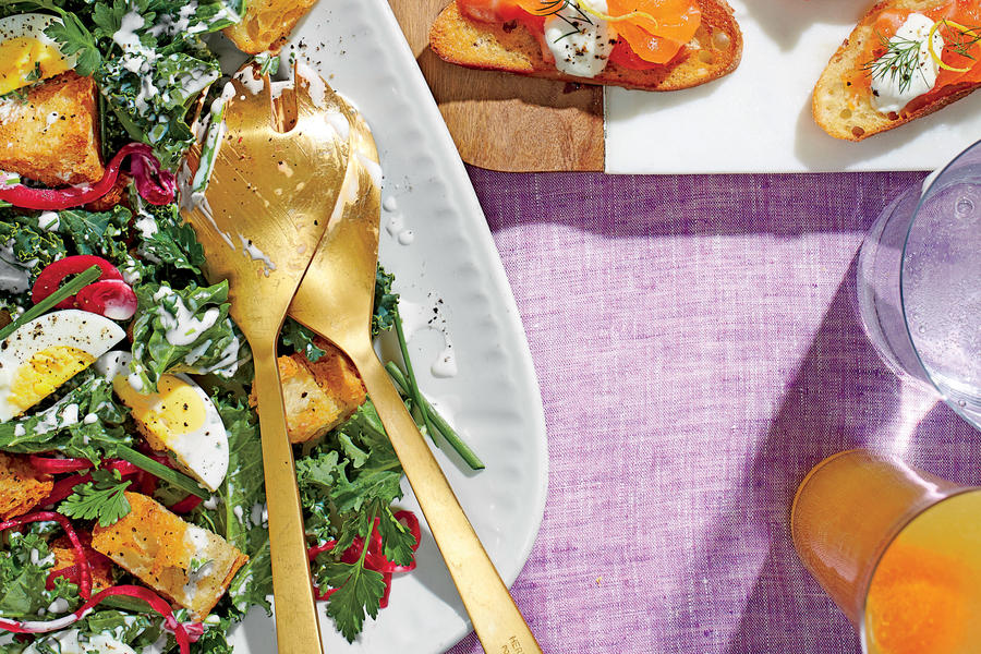 Kale Salad with Buttermilk Dressing and Pickled Onions