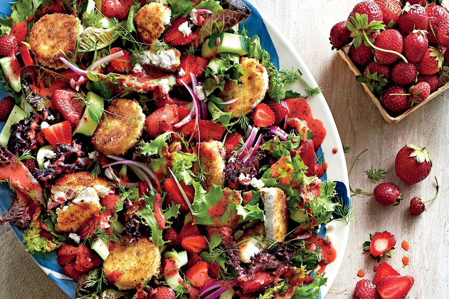 Strawberry salad with warm goat cheese croutons may 2016 recipes southern living Bhg recipes may 2016