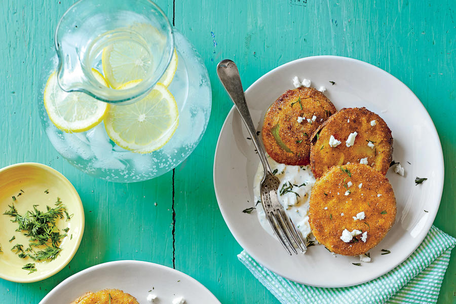 Fried Green Tomatoes with Buttermilk-Feta Dressing - Fresh Tomato Recipes - Southern Living