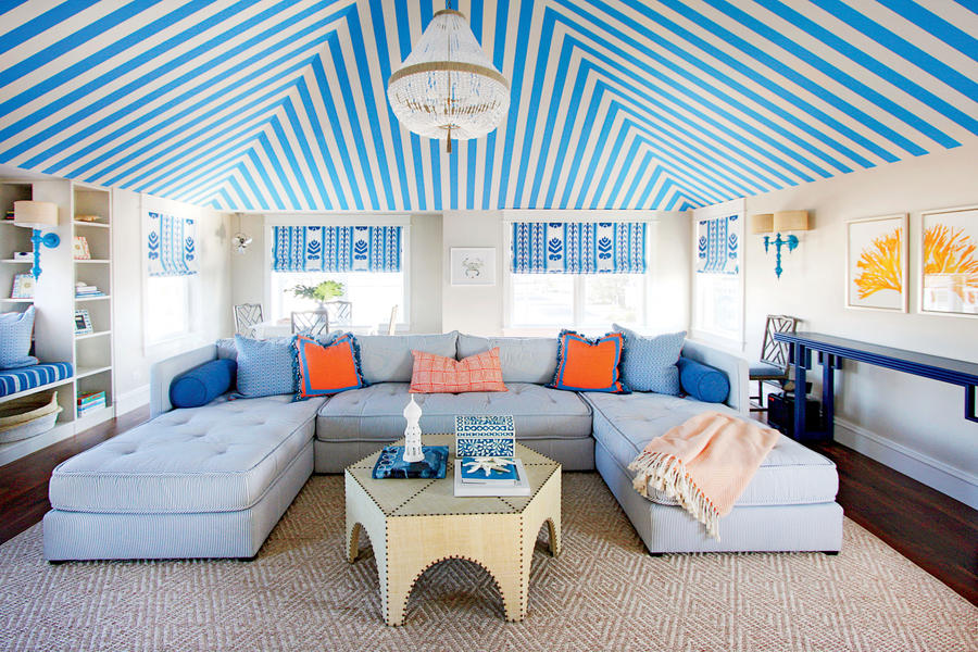 Blue Room Striped Ceiling