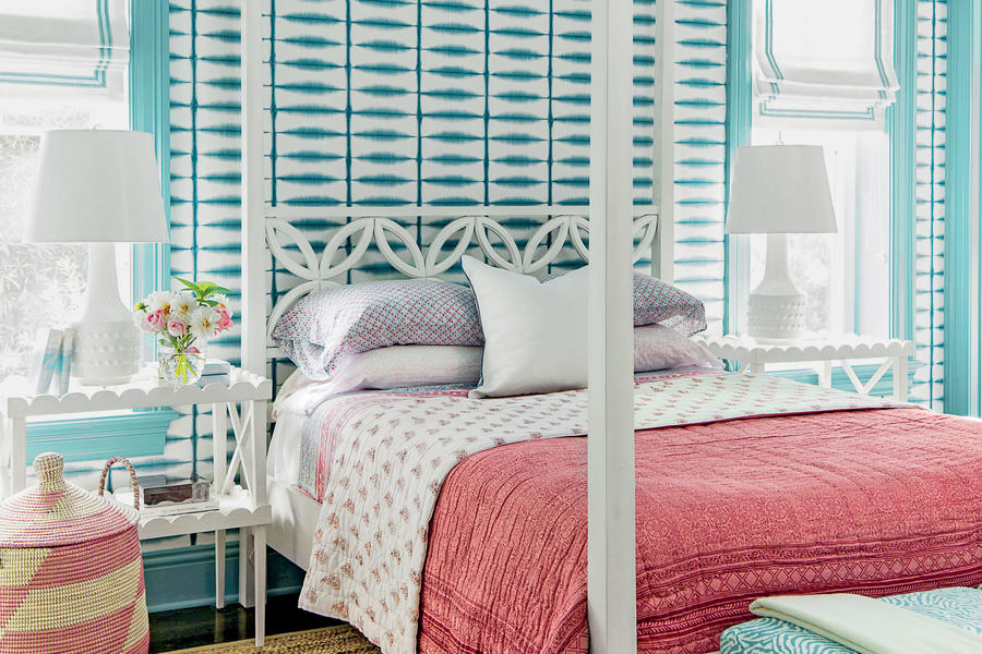 Tie dye turquoise beautiful blue bedrooms southern living for Turquoise wallpaper for bedroom
