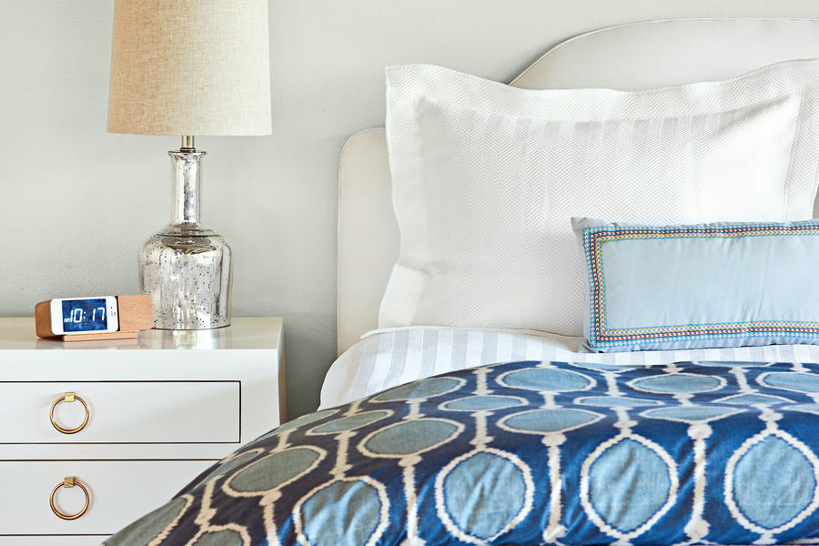 White Bedroom with Blue Comforter