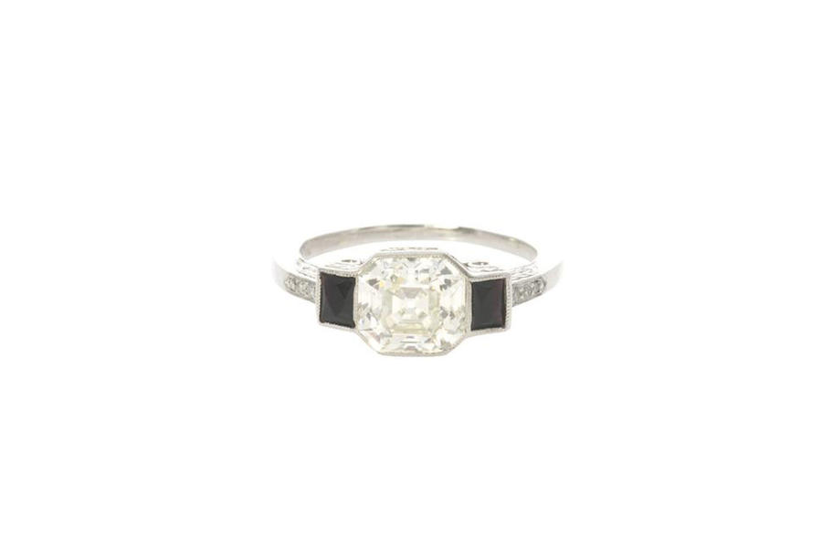 Art Deco Black and White Engagement Ring