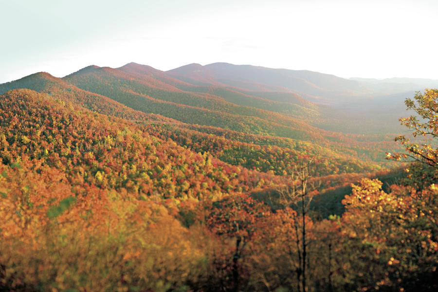 Pisgah National Forest. Appalachian Mountains in fall color.