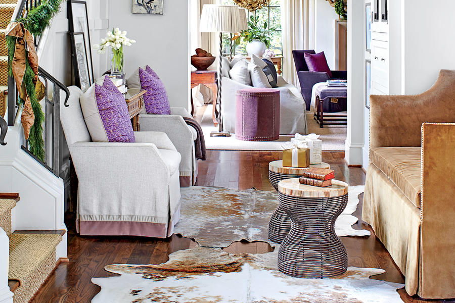 Foyer Seating Area Ideas : This southern designer s house is a winter wonderland