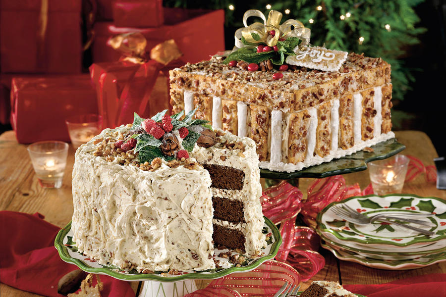 Chocolate Velvet Cake With Cream Cheese-Butter Pecan Frosting