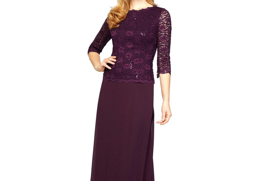 Alex Evenings Sequin Lace & Chiffon Gown