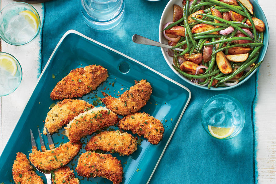Buttermilk Chicken Tenders with Roasted Potatoes and Green Beans
