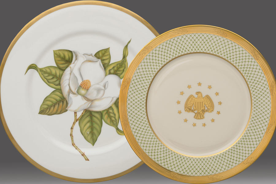 Gold China with Magnolia Flower