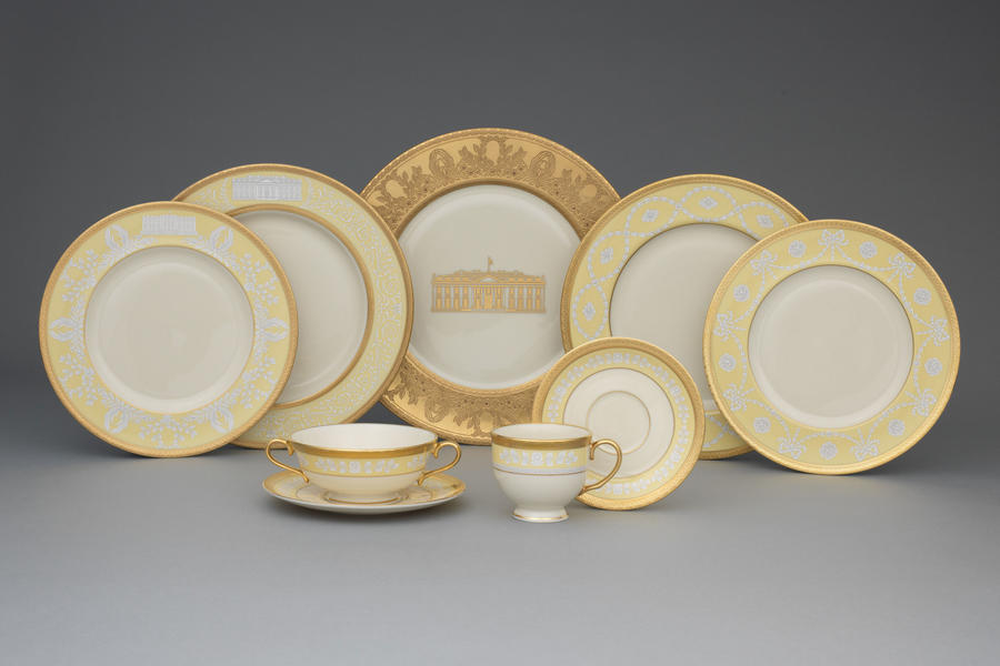 Gold China with White House Image