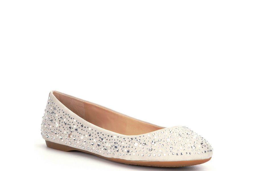 Jeweled Ballet Flats Have Your Own Cinderella Moment In These Ivory Wedding Shoes Southern