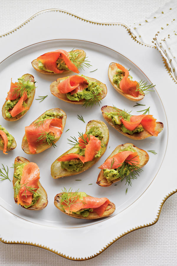 Tremendous Fingerling Potatoes With Avocado And Smoked Salmon Holiday Easy Diy Christmas Decorations Tissureus