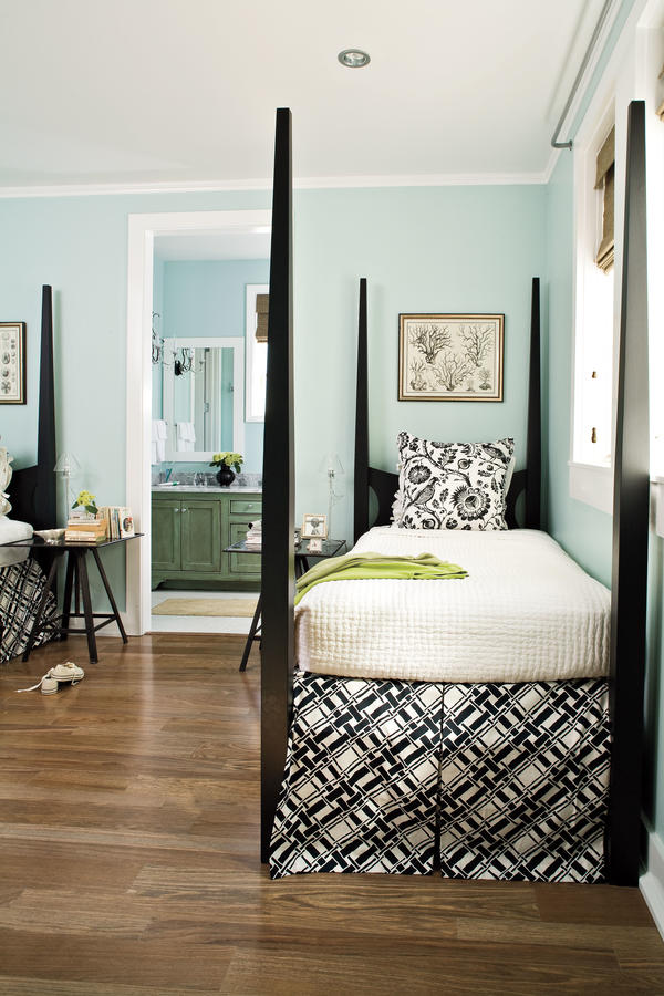 Black and white and blue bedroom