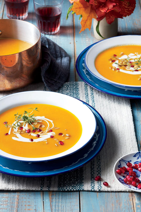 Velvety Pumpkin Soup With Blue Cheese And Bacon Recipe ...