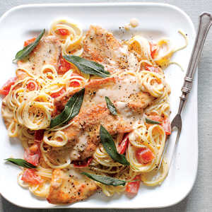 Turkey Cutlets with Tomato Cream Sauce