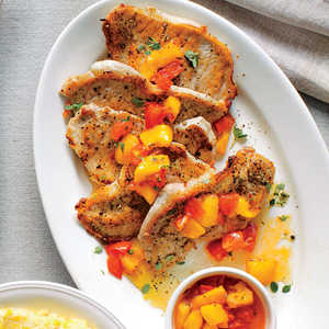 Pork Grillades with Pepper Jelly-Peach Sauce and Corn Grits