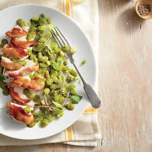 Bacon-Wrapped Chicken with Basil Lima Beans