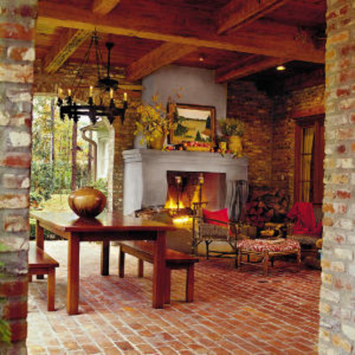 Porches and patios cozy brick porch porch and patio for Back porch fireplace