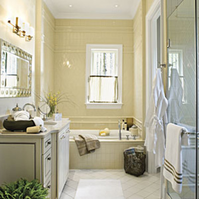 Creamy Tiled Master Bath Luxurious Master Bathroom
