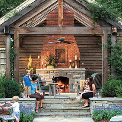 Raised patio for Outdoor room with fireplace