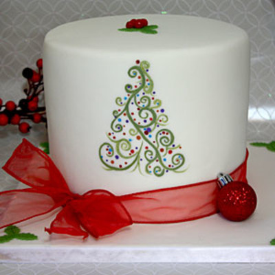 Christmas Cake Decorating With Buttercream : Painted Christmas Cake - Christmas Cake-Off - Southern Living