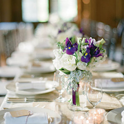 Elegant Purple And White Wedding Table Centerpiece
