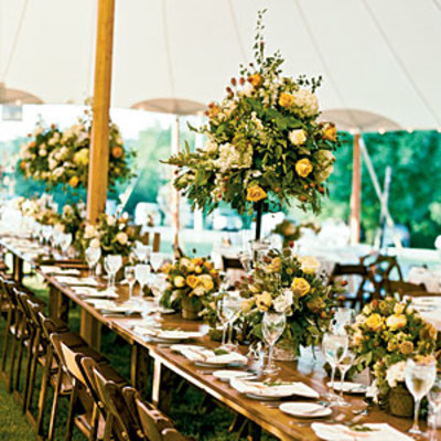 yellow country style wedding table centerpiece wedding
