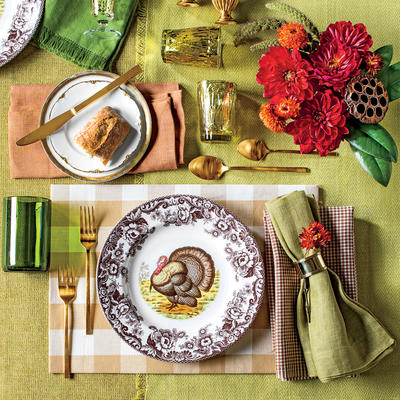 brown chartreuse turkey plate special southern living