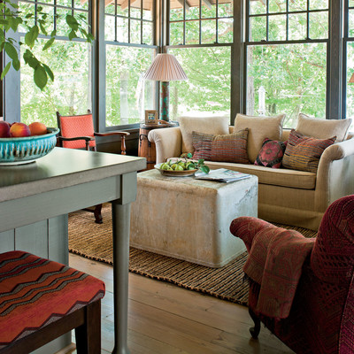Family friendly furniture for Southern living house plans with keeping rooms