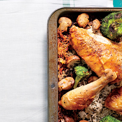 Simple Whole Chicken with Roasted Broccoli-Mushroom Rice - January ...