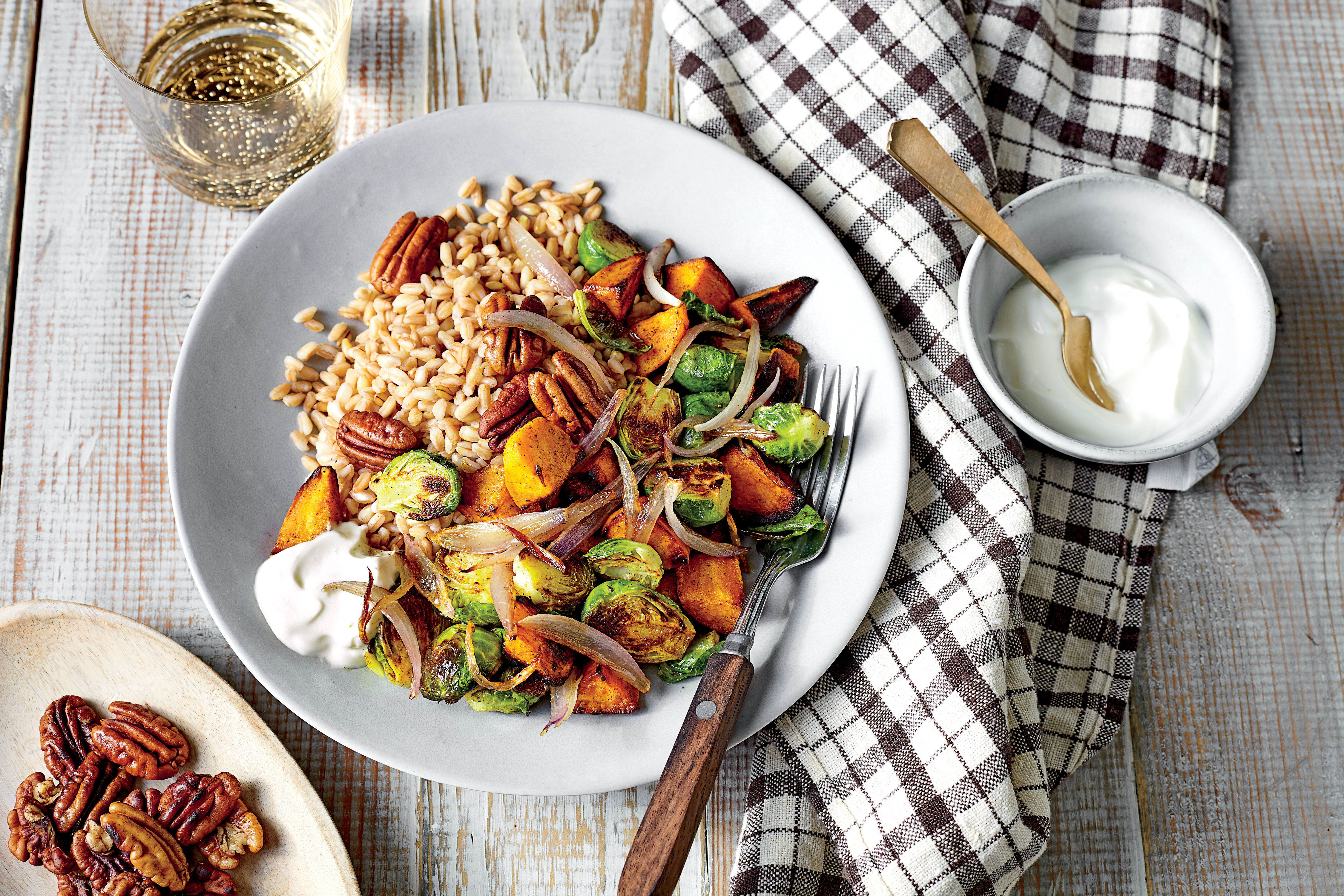 Farro Bowl with Curry-Roasted Sweet Potatoes and Brussels Sprouts Recipe