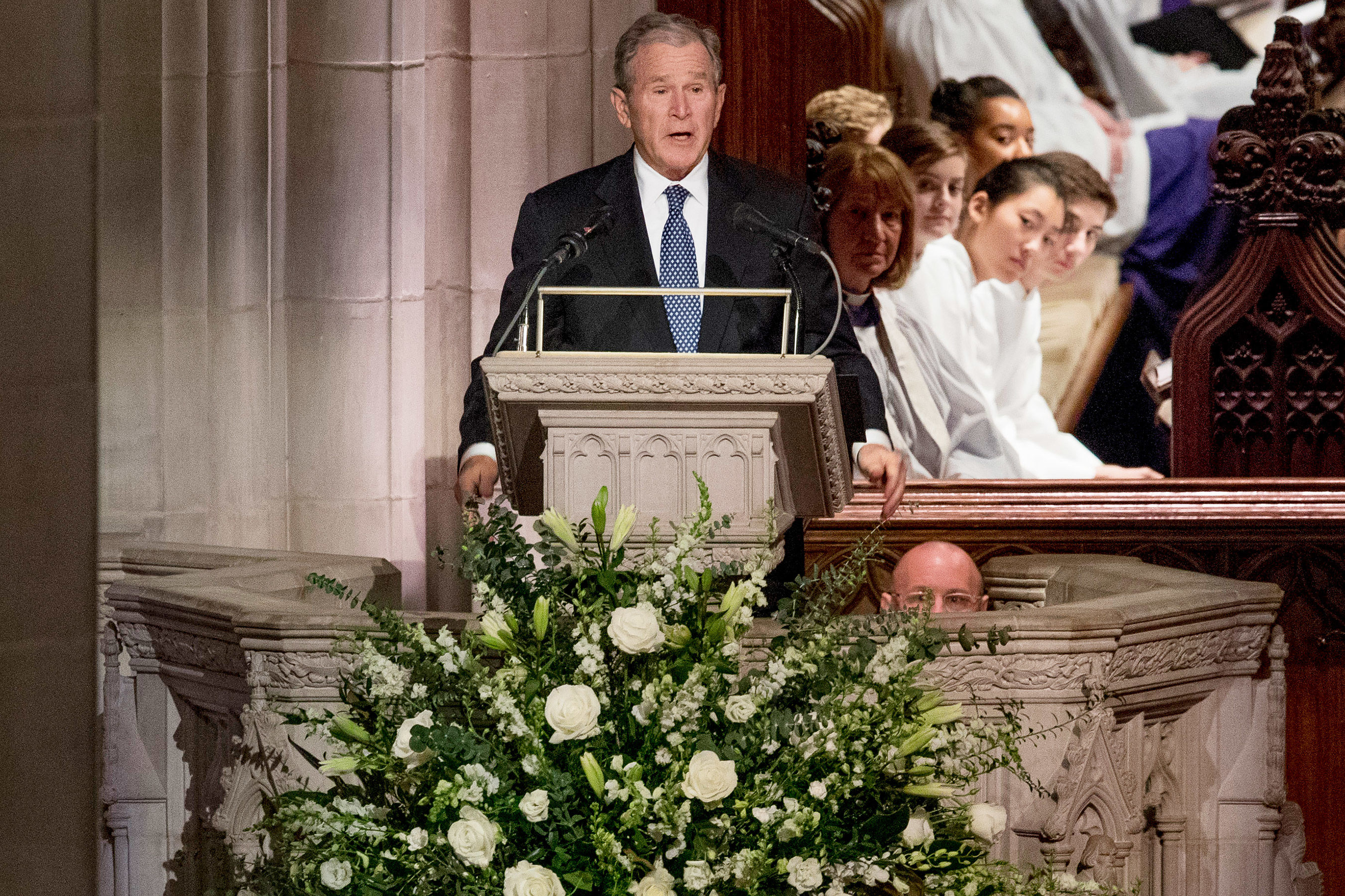 George W. Bush Cries During Emotional Eulogy of Father George H.W.: 'He Was Close to Perfect'